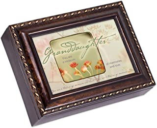 Cottage Garden Granddaughter You are a Treasure Burlwood Rope Trim Jewelry Music Box Plays Canon in D