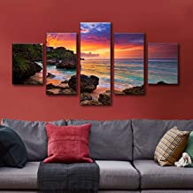 decalmile 5 Panel Wall Art Painting Sunset Ocean Beach Picture Printed on Canvas Modern Artwork Stretched and Framed Ready to Hang for Home and Office Decoration Decor
