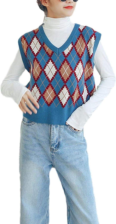 Women's Casual V Neck Argyle Sleeveless Knitted Pullover Sweater Vest Gilet