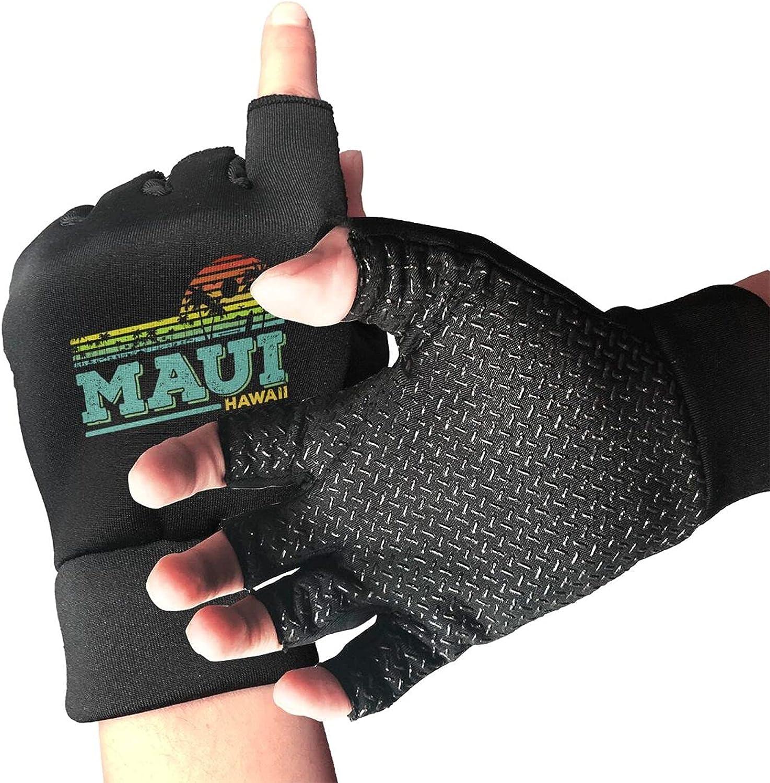 Maui Hawaii Aloha Hawaiian Island Non-Slip Driving Gloves Breathable Sunblock Fingerless Gloves For Women Men