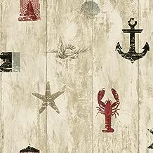 York Wallcoverings Nautical Living Weathered Seashore Removable Wallpaper, Cream/Beige/Tan/Grey/Red/Black