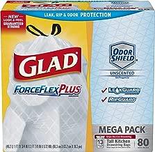 Glad Tall Kitchen Drawstring Trash Bags – ForceFlexPlus 13 Gallon White Trash Bag, OdorShield – 80 Count