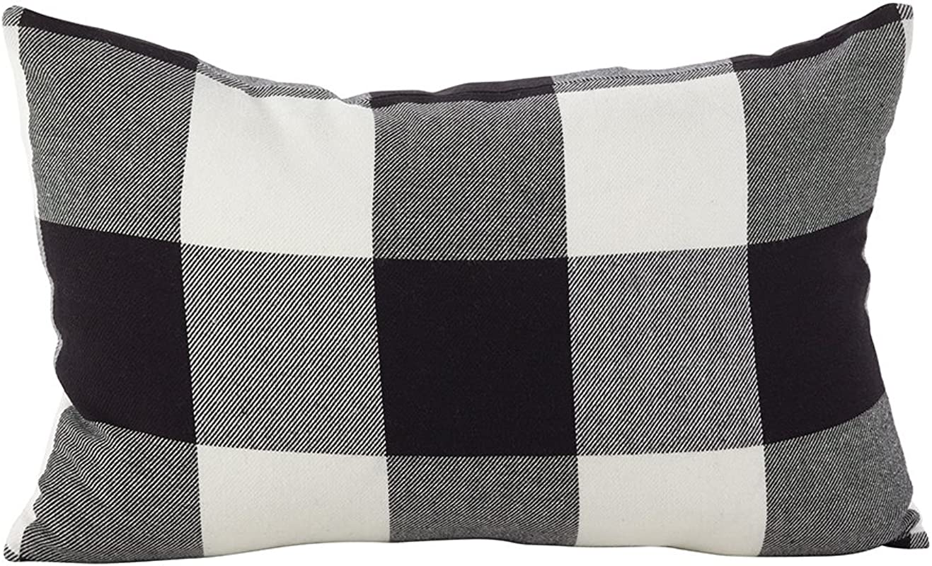 Fennco Styles Buffalo Collection Rustic Plaid Design 100 Pure Cotton Throw Pillow Black 13 X20 Inch Pillow Cover For Couch Bedroom And Living Room D Cor