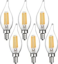E12 LED Candelabra Bulb 60W Equivalent Dimmable LED Chandelier Light Bulbs 6W 2700K Warm White 550LM CA11 Flame Tip Vintage LED Filament Candle Bulb with Decorative Candelabra Base, 6 Packs, by Boncoo