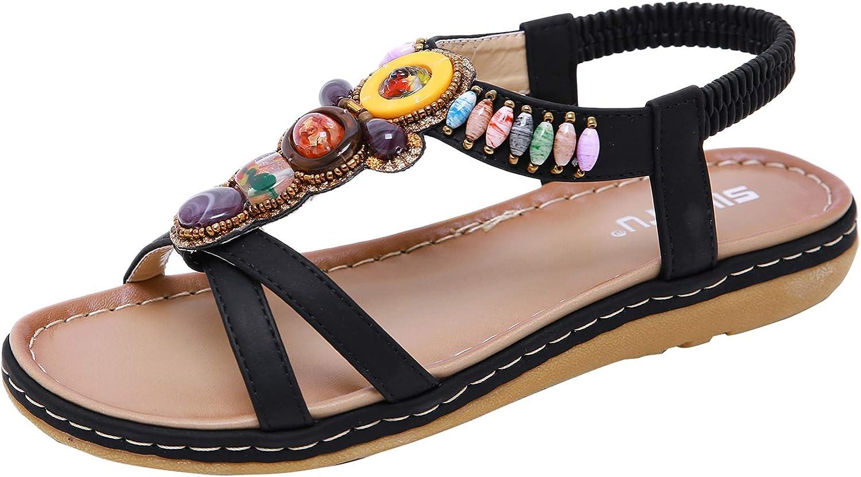 Insun Women's Bohemian Beaded Beach Summer Ankle Strap Flat Sandals