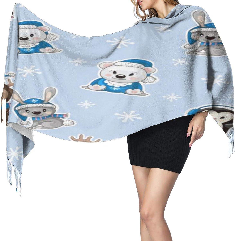 Cashmere fringed scarf Cute Baanimals Bear Rabbit winter extra large scarf