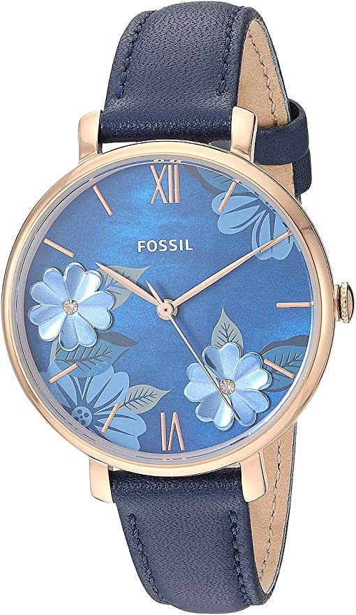 ES4673 Rose Gold Navy Leather