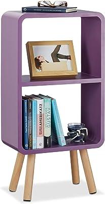 Relaxdays Étagère 2 compartiments bibliothèque bois MDF 4 pieds commode tablette table chevet, violet