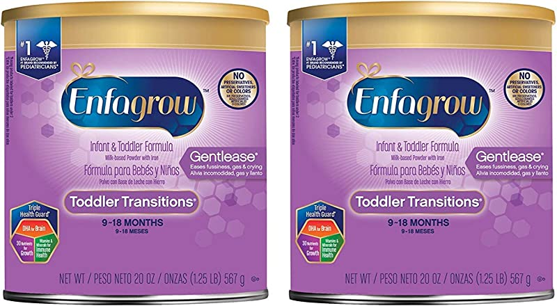 2 Pack Enfagrow Toddler Transitions Gentlease Formula Eases Fussiness Gas Crying Powder Can 20 Oz