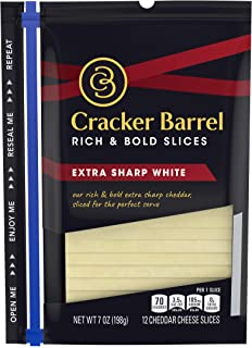 Cracker Barrel Rich & Bold Extra Sharp White Cheddar Cheese (12 Slices)