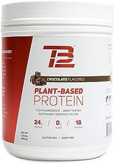 TB12 Plant Based Protein Powder, Chocolate Flavor - Vegan, 1g Net Carb, Non-GMO, Dairy-Free, Sugar-Free, Sustainably Sourc...