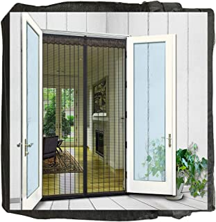 N-Green Magnetic Screen Door Heavy Duty Mesh Curtain with Full Frame Hook and Loop and Powerful Magnets That Snap Shut Automatically (36