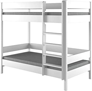 Bunk Beds - Kids Children Juniors Single 140x70, 160x80, 180x80, 180x90, 200x90, No Mattress and No Drawers Included Ladder on the Front (Long Edge) (180x80, White)