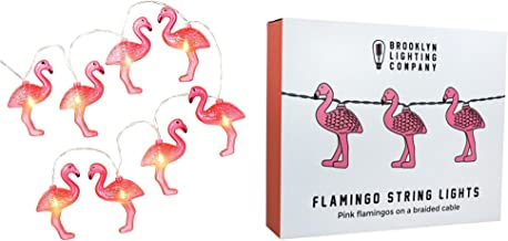 Brooklyn Lighting Company - 10 LED Flamingo String Lights, Battery Operated String Lights, Party Decor Supplies for Indoor, 5 Feet Long