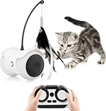 Magkay Interactive Cat Toys for Indoor Cats, USB Charging Auto/Remote Mode Timed with Colorful Led Wheels 6 Feathers Kitty Gadget Electronic Moving Cat Toys