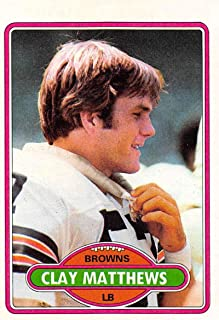 1980 Topps Football #418 Clay Matthews RC Rookie Card Cleveland Browns SET BREAK ONE Official NFL Trading Card