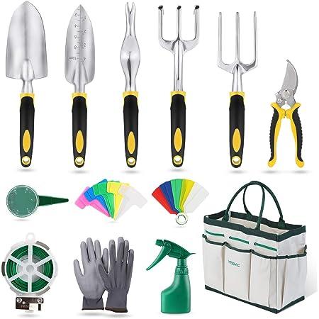 YISSVIC Outils de Jardinage 12 Pièces Outils de Jardin avec Sac de Rangement, Arrosoir, Gants de Jardinage