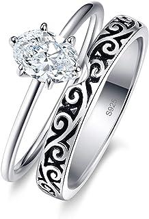 AVECON خمر خواتم الزفاف للنساء خاتم الخطوبة مجموعة 925 الفضة الاسترليني 1.0ct بيضوي قطع أبيض زركونيا مكعب الحجم 5-10