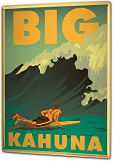 Nostalgic Tin Sign Wall Plate Big Kahuna surfboard surfer wave Metal Wall Plate 8X12