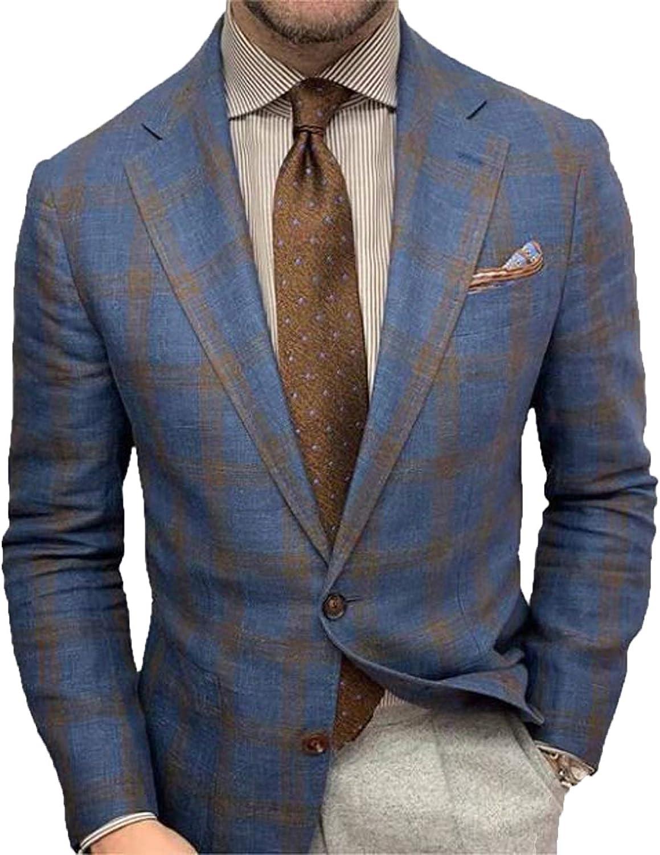 AmShibel Formal Men Suit Coat, Long Sleeve Lapel Collar Left Chest Pocket Button Darkstrip Jacket for Autumn
