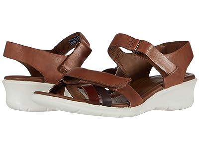 ECCO Felicia Ankle Strap Sandal (Brandy/Coffee/Mahogany Calf Leather/Cow Leather/Cow Nubuck) Women