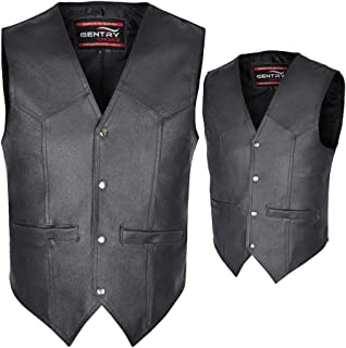 Gentry Choice Men's Real Leather Vest Biker Motorbike Riding Simple Casual Black Waistcoat