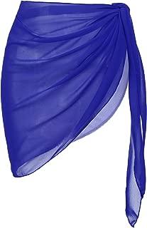 Womens Beach Short Sarong Sheer Chiffon Cover Up Soild Color Swimwear Wrap S-3XL