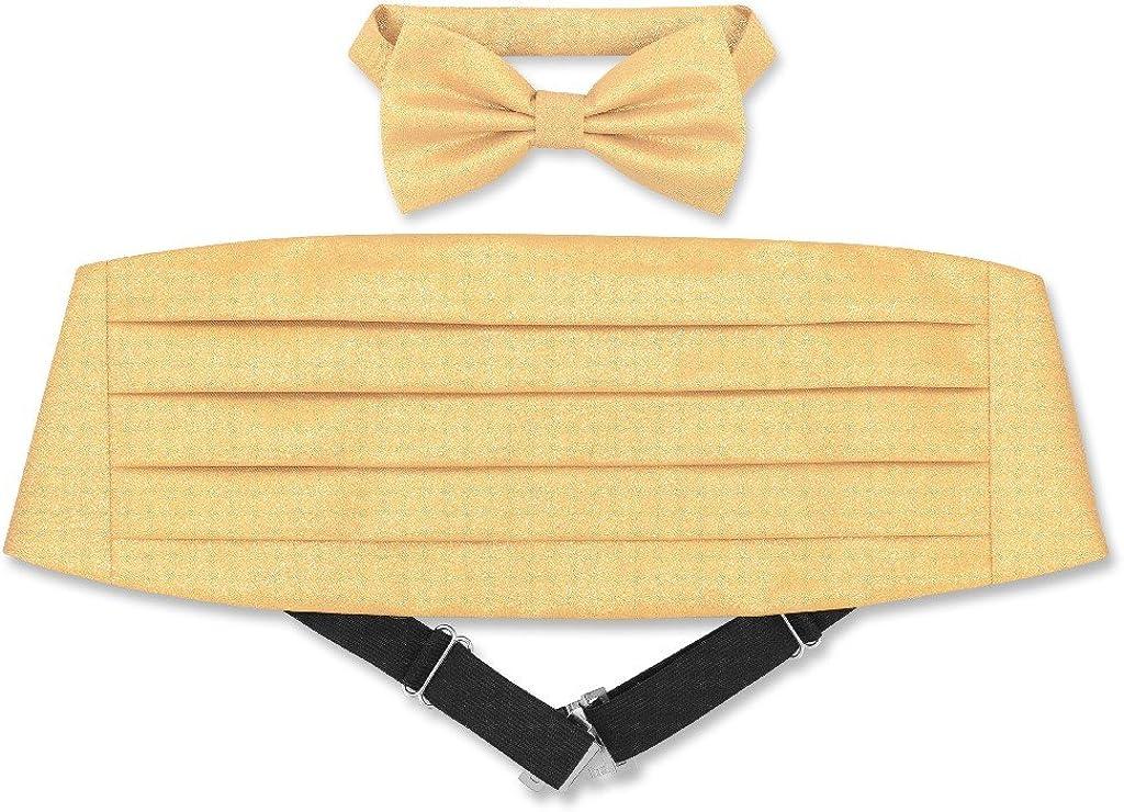 Cumberbund & BowTie Solid GOLD Color METALLIC Design Men's Cummerbund Bow Tie Set
