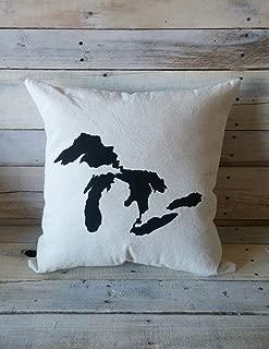 Blafitance Great Lakes Throw Pillow, Lake Michigan, Lake Erie, Lake Superior, Lake Huron, Lake Ontario, Decorative Pillow Cover