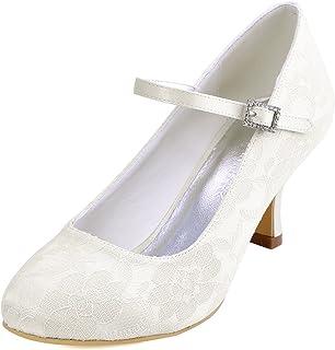 208a6a6376 ElegantPark Women Mary Jane Pumps Closed Toe Mid Heel Lace Wedding Bridal  Shoes