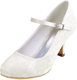 Women Mary Jane Pumps Closed Toe Mid Heel Lace Wedding Bridal Shoes