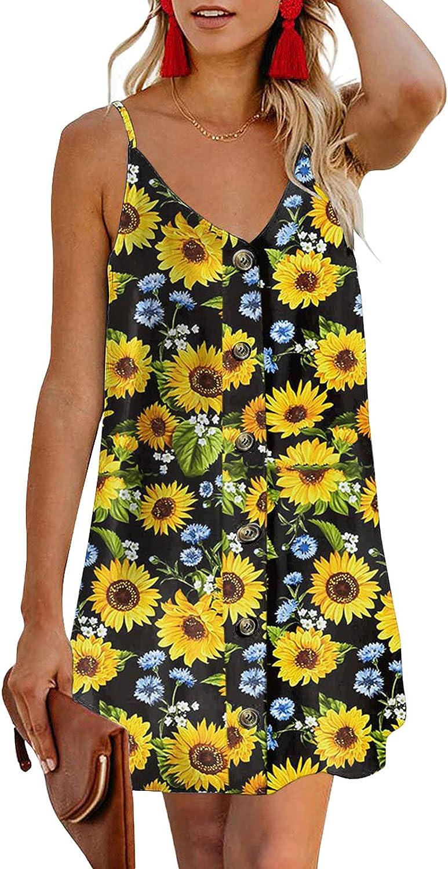 ONHUON Summer Dresses for Women,Womens Casual Strap Open Back Mini Dresses Swing Beach Party Sexy Short Dress