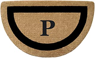 """Heavy Duty 22"""" x 36"""" Coco Mat, Black Single Picture Frame Monogrammed P, Half Round"""
