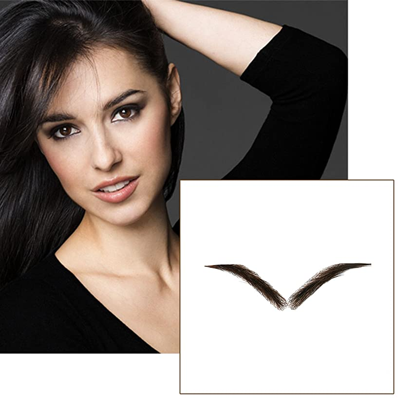 Vlasy One Pair Handmade False Eyebrows Human Hair Fake Eye Brows (EB-787-3#)