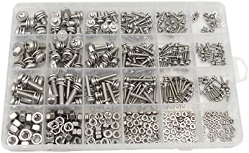 HVAZI M2 M2.5 M3 M4 M5 M6 Stainless Steel Phillips Pan Head Screws Combine with Spring Washer and Plain Washers Nuts Assortment Kit