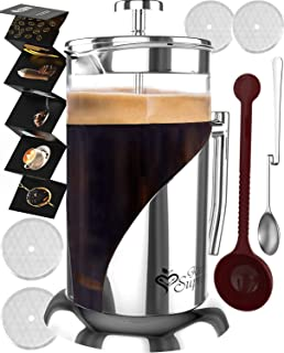 French Press Coffee Maker - 34 Oz, Large - The Only Encapsulated 304 Stainless Steel Lid NOT Plastic - 4 Level Filtration System & Double German Glass