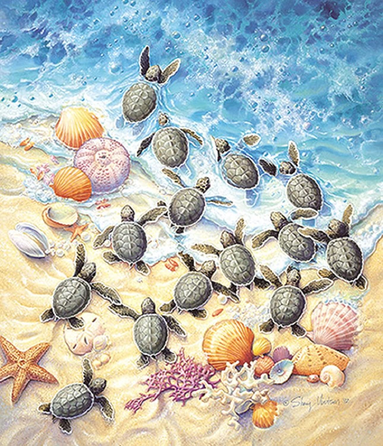 SunsOut Sherry Vintson Green Turtle Hatchlings 550 Piece Jigsaw Puzzle