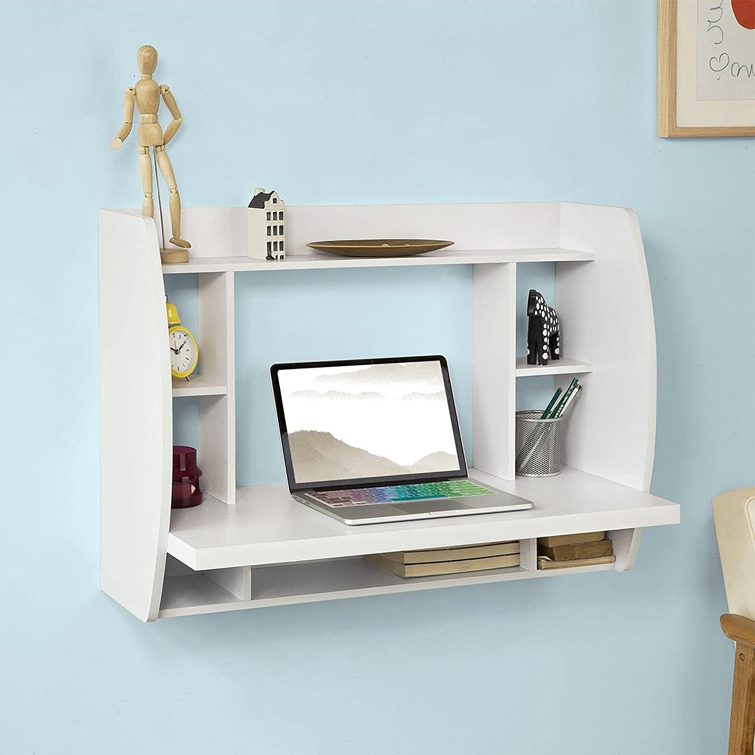 Huokan Wall Max 82% OFF Mounted Floating Computer Shelves Desk Superlatite with Storage