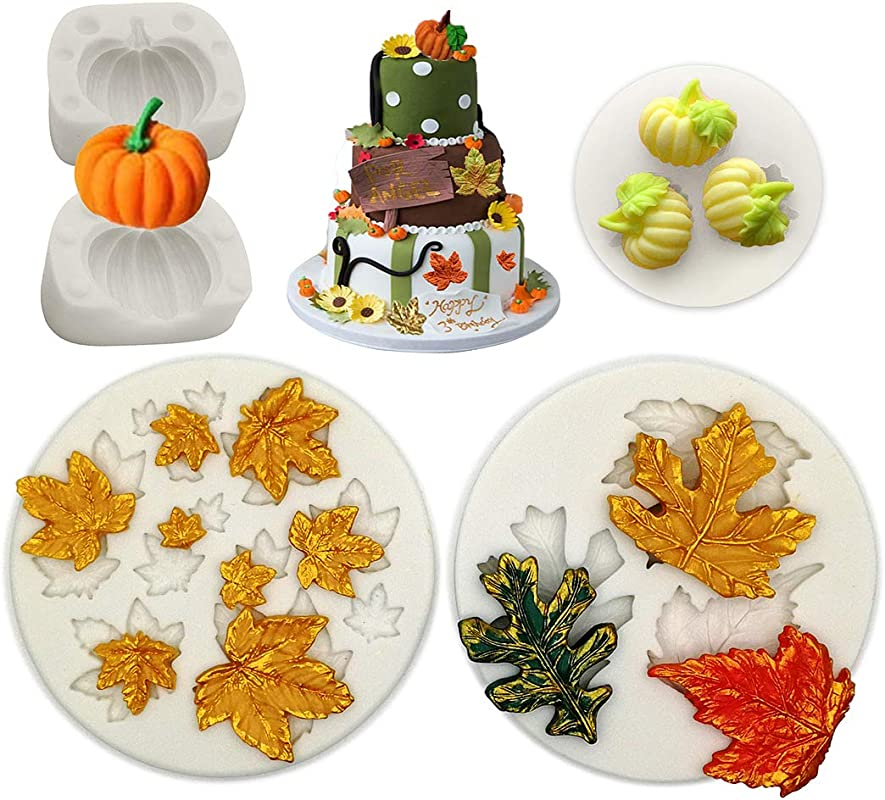 Pumpkin Maple Leaves Mold YAWOOYA Fall Fondant Molds Silicone For Fall Harvest Thanksgiving Halloween Cake Decorations Mold Chocolate Candy Clay Tools