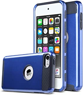 ULAK iPod Touch 7 Case, iPod Touch 6 Case, Slim Fit Dual Layer Hard PC Back+TPU Shockproof Interior Protective Case Cover for Apple iPod Touch 5th/6th/7th Generation, Navy Blue/Black