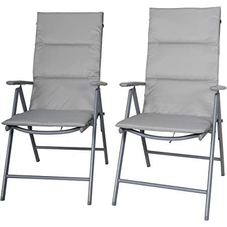 Chicreat Camping Folding Chairs with Upholstery, Set of 2, Silver/Grey