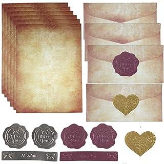 20 Papier à Lettre Vintage et 10 Enveloppe Vintage Papier A4 Papeterie + 18pc Autocollants pour Correspondance et Bricolag...