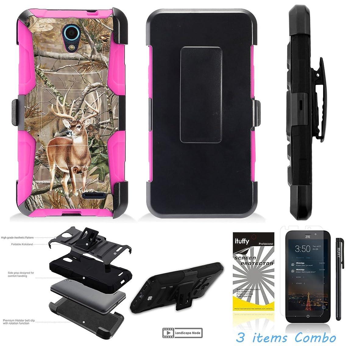 For ZTE MIDNIGHT PRO, ZTE ZFIVE 2nd GEN Z837VL Z836BL /3Items [Clear LCD Film]+Stylus Pen+[Impact Resistance] Dual Layer [Belt Clip] Holster Combo [KickStand] Phone Case Tree Deer Pink