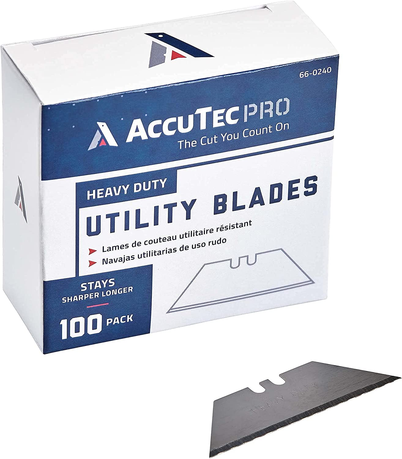 AccuTec Pro 2-Notch Utility Knife Blades 100-Pa Dispenser Max 74% OFF - Credence with