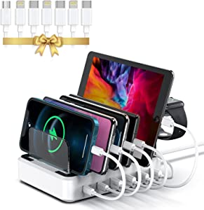LENUMB 80W 2PD Charging Station for Multiple Devices,2 USB-C 20W Power Delivery Port for iPhone 13 Series, QC 3.0 with 3 USB Fast Port,7 Short Mixed USB Cables, for Apple,Android,Pad,[UL Certified]