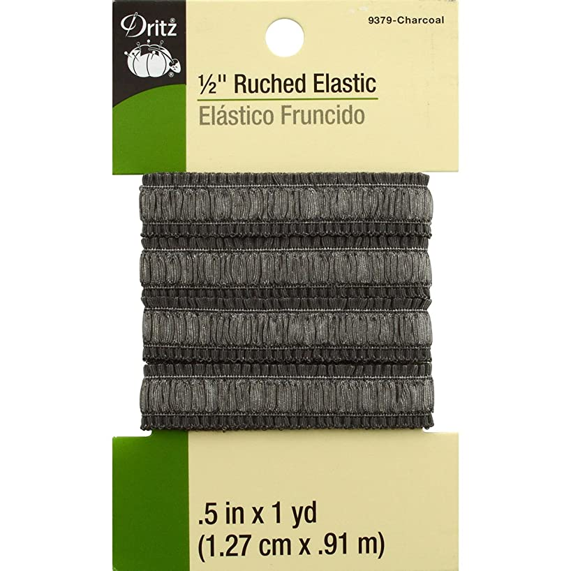 Dritz 9379 Ruched Woven Elastic, Charcoal, 1/2-Inch by 1-Yard