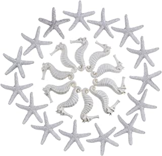 Resin Pencil Finger Seashells for Crafts, 15 Pieces Starfish and 10 Pieces Seahorse Set for Home Wedding Decor