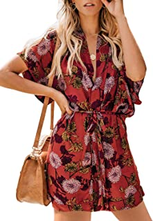 Elapsy Womens Deep V Neck Hawaiian Boho Floral Print Dress Sundress