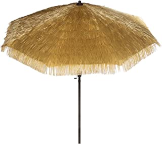 Bayside-21 9 Feet Patio Umbrella Market Outdoor Table Umbrella with Auto Tilt and Crank Tiki Umbrella 9' Cranking Lift Tiki Thatched Hula Outdoor Patio Umbrella Natural color (9ft 8 Ribs)