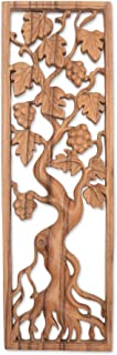 NOVICA Leaf and Tree Large Wood Relief Panel Wall Sculpture, Brown, Duku Tree'